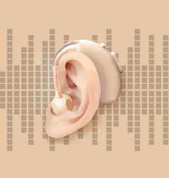 Digital hearing aid behind the ear on the vector