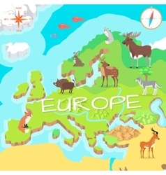 Europe isometric map with flora and fauna vector