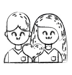 figure couple with beauty relation ships and heart vector image