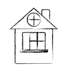 Figure house with roof and window vector