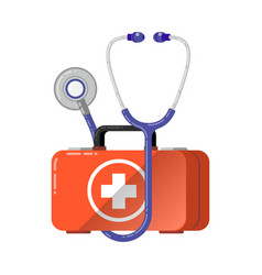 first aid healthcare concept with medical box vector image