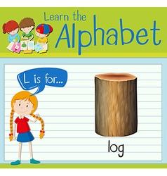 Flashcard letter L is for log vector image