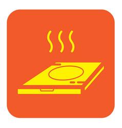 Flat color pizza box icon vector