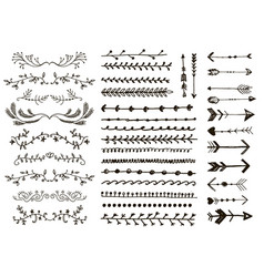 Floral ornament dividers hand drawn vector