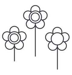 flowers line icon sign vector image