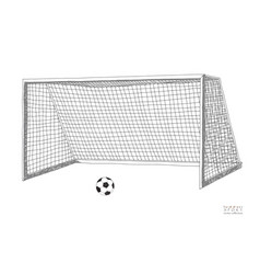 Football goal soccer game equipment hand drawn vector