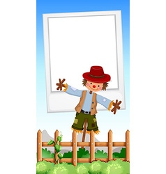 Frame design with scarecrow in field vector image