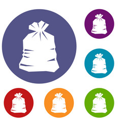 garbage bag icons set vector image