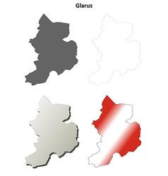 Glarus blank detailed outline map set vector
