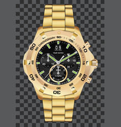 Gold watch clock chronograph luxury vector