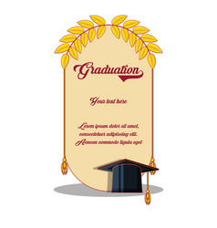 Graduation card with hat and diploma vector