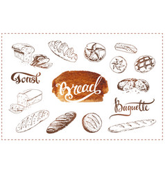Hand drawn bakery icons set food sketches vector