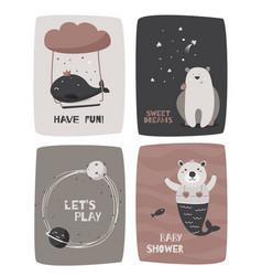 Hand drawn kids design cards with cute animals vector