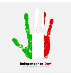Handprint with the Flag of Italy in grunge style vector
