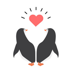 Happy penguin couple with hearts vector