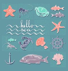 hello sea card with handwritten text sea vector image