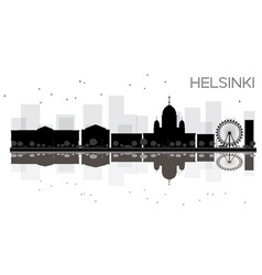 Helsinki city skyline black and white silhouette vector