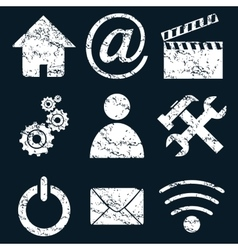 Home internet set white grunge vector