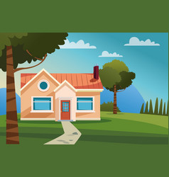Home with garden scenery vector