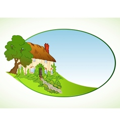 House with plants background vector