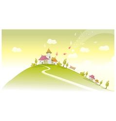 Houses on green landscape vector image