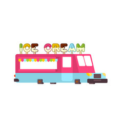 ice cream car food truck fast food car vector image