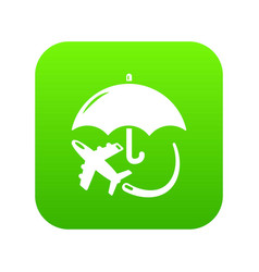 Insurance fly icon green vector
