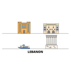 Lebanon flat landmarks vector