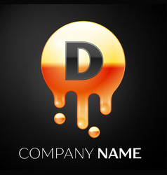 Letter d splash logo golden dots and bubbles vector