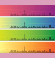 lisbon multiple color gradient skyline banner vector image