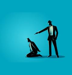 man aiming a gun to the kneeling mans head vector image