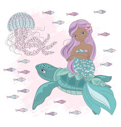 mermaid on turtle underwater princess vector image