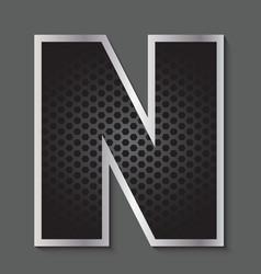 Metal grid font - letter n vector