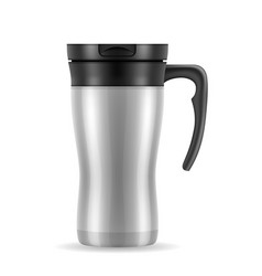 metallic silver thermo cup thermomug vector image