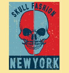 modern skull poster tee graphic design vector image