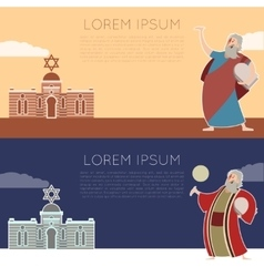 Moses flat banner vector