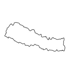 Nepal map of black contour curves on white vector