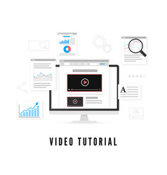 online education tutorial and study course online vector image