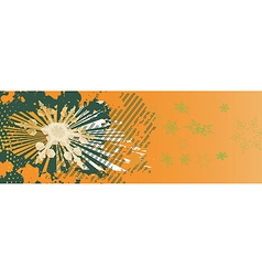 Orange Christmas banner with green snowflakes vector image