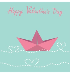 Paper boat and waves in shape of heart valentines vector