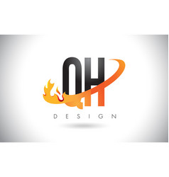 Qh g h letter logo with fire flames design and vector