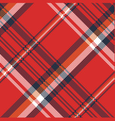 Red plaid fabric texture pixel seamless pattern vector