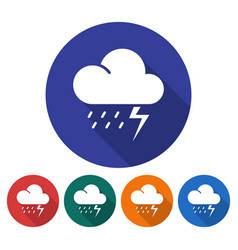 round icon of thunderstorm flat style with long vector image