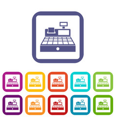 Sale cash register icons set flat vector