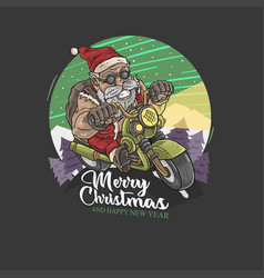 santa claus motorcycle vector image