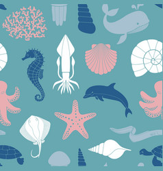 seamless background on theme sea and vector image