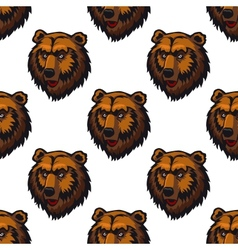 Seamless pattern of brown bear head trophies vector image vector image