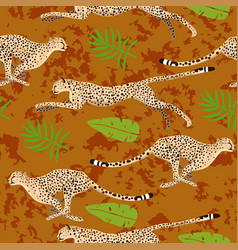 seamless pattern with cheetahs and leaves vector image