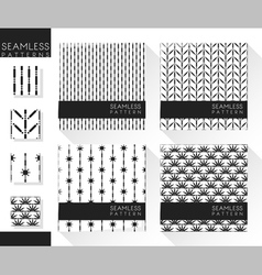 Set abstract seamless patterns 4 vector
