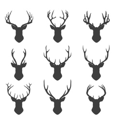 Set of deer silhouettes vector